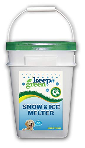 Keep It Green Pet Safe Ice Melt - Nontoxic Child Friendly Snow Melter Rock Salt Pellets with Green Tint - Time Release Fertilizer for Grass and Garden - Calcium Chloride Free (1 Pack, 35 Pound Bucket)