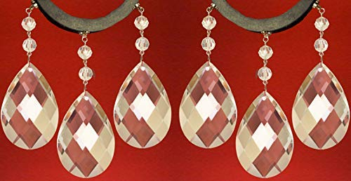 """MagTrim (Set/6) Magnetic Chandelier Crystals - 5"""" Clear Crystal Weaved Teardrop Almond - Replacement Chandelier Crystals, Prism Pendants, Hanging Crystals,Crystal Prisms,Crystal Beads Parts (6) -  MagTrim Designs LLC"""