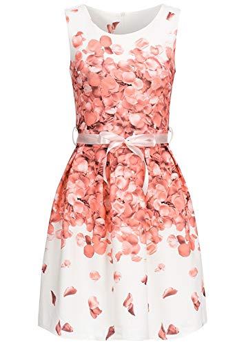 Styleboom Fashion® Damen Mini Kleid Rosenblätter Muster Bindeband Weiss rot rosa, Gr:S