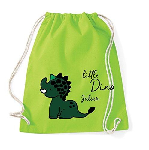 personalisierter Zuziehrucksack für Kinder | Motiv Dino-Saurier inkl. Namensdruck | Stoffbeutel mit Kordel für Jungen & Mädchen mit Name