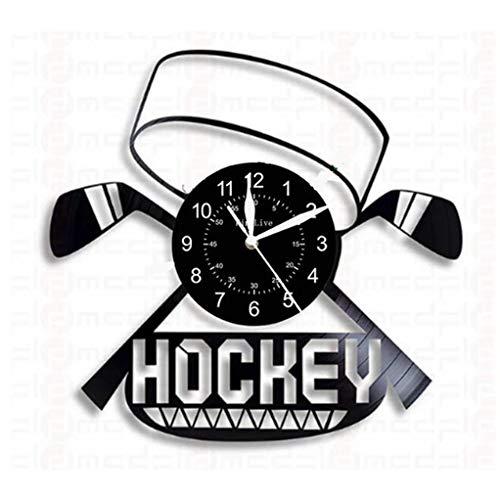 GJ Eishockey Vinyl Record Clock hohler Entwurfs-Wanduhr kreativ Retro Hauptdekoration Wanduhr Wanduhr Retro Stil Dekorative Wanduhr (Color : A5, Size : 34x34 cm)