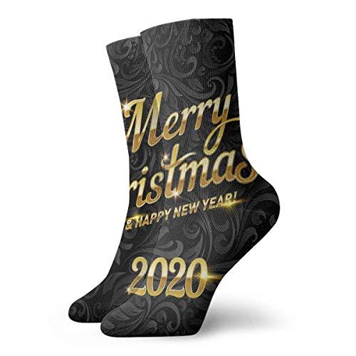 XCNGG Calcetines Feliz Navidad Texto dorado Plantilla de tarjeta de diseño de letras caligráficas SuCrew Calcetines para hombres - Calcetines deportivos para hombres - Calcetines deportivos