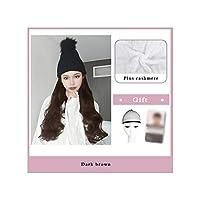 ナチュラル接続髪合成のBlack Hatカーリーヘアストレートヘアウィッグ弾性ニット帽子ウィッグ耐熱女性、2I333,22Inches