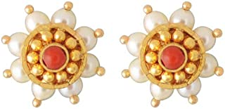 Lagu Bandhu 22k (916) Yellow Gold, Pearl and Coral Stud Earrings for Women