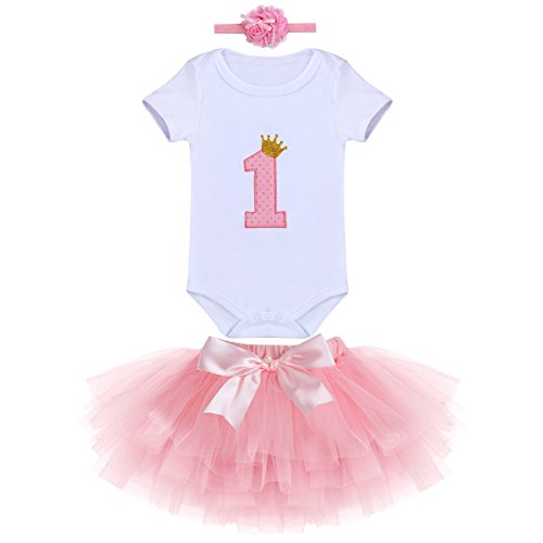 Conjunto de 1º cumpleaños para bebé nacimiento, niña, falda, tutú, tutú y vestido de algodón con lazo para la cabeza, conjunto de 3 piezas 1 An (Rose A) Talla única