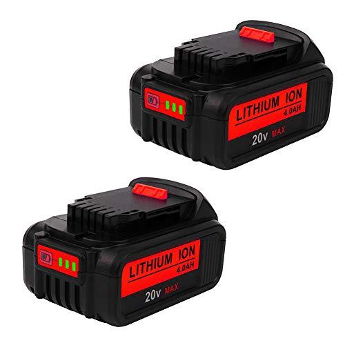 2PACK 20V 4000mAh DCB205 Battery Replacement for Dewalt 20 Volt Battery Max XR DCB200 DCB203 DCB206 DCB204 DCB204BT-2 DCB203 DCB201