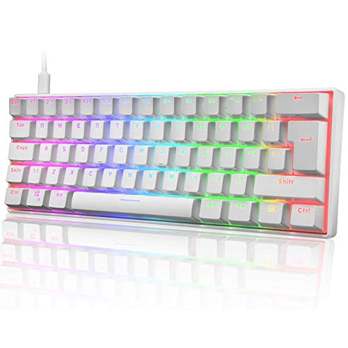 60% Mechanical Gaming Keyboard Mini Portable with Rainbow RGB Backlit Full Anti-Ghosting 61 Key Ergonomic Metal Plate Wired Type-C USB Waterproof for Typist Laptop PC Mac Gamer (White/Blue Switch)