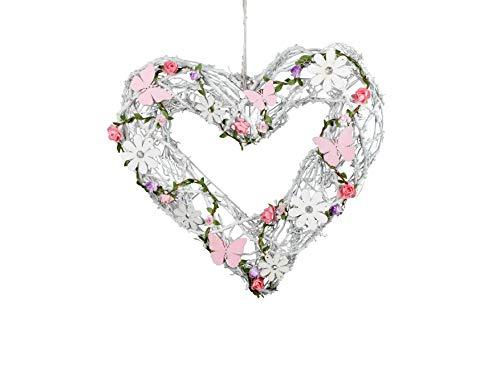 dekojohnson Rattan-Herz Fenster-Deko hängend Holz Landhaus Hänger Tür-Kranz aufhängen weiß rosa lila Herbst Winter 34cm groß Frühjahr