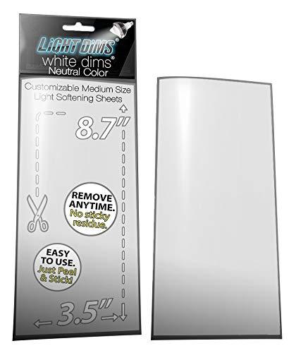 """LightDims, personalisierbare Lichtdimmerfolie """"White Dims"""" für sehr helle LED-Leuchten, Elektronikgeräte und mehr Dimmt 15–30 % des Lichts. Mittlere Größe: 22 x 9 cm. 2 Blatt."""