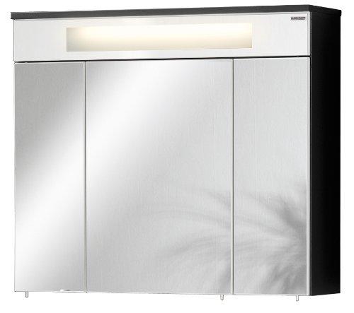 FACKELMANN LED Spiegelschrank KARA / mit Soft-Close-System / Maße (B x H x T): ca. 80 x 70 x 23 cm / Schrank für das Bad / Möbel fürs WC oder Badezimmer / Korpus: Anthrazit / Front: Spiegel