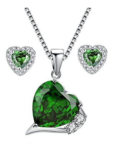 Ani's Plata de ley 925 en forma de corazón esmeralda y D/VVS1 diamante colgante de 12 mm y pendientes de 5 mm conjunto de joyas regalos para mujeres