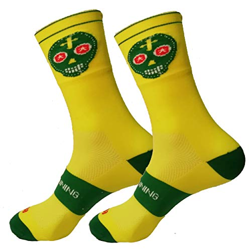 HOOPOE Running Half Cut Socks, Sportsocken, für Damen & Herren, Lustig, Nahtlos, Schwitzfähig, Gelb #Skully, Größen 41-45
