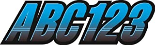 STIFFIE Techtron Sky Blue/Black 3 Alpha-Numeric Registration Identification Numbers Stickers Decals for Boats & Personal Watercraft