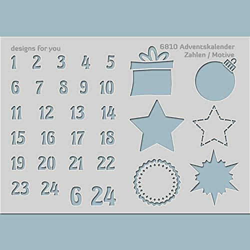 Schablone - Adventskalenderzahlen, Adventsmotive, 6810, Din A5 oder A4, Basteln Weihnachten, Zahlen, Geschenkanhänger