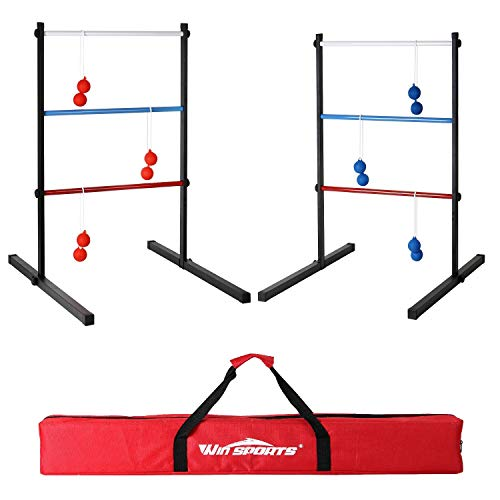 Win SPORTS Outdoor Metal Ladder Toss Game Set – Premium Ladderball Steel Includes 6 Soft Ball Bolas and Durable Carry Bag