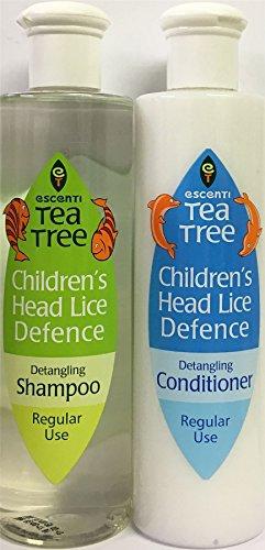 Escenti Teebaum Shampoo und Spülung gegen Kopfläuse bei Kindern, Shampoo 300ml & Spülung 300ml
