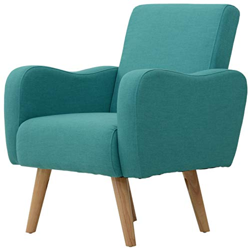 HOMCOM Linen Nordic Armchair Sofa Chair Solid Wood Living Room - Teal