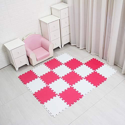 qqpp Alfombra Puzzle para Niños Bebe Infantil - Suelo de Goma EVA Suave. 18 Piezas (30 * 30 * 1cm), Blanco & Rojo.QQC-AIb18N