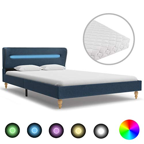 UnfadeMemory Classic Bed Frame with Soft Mattress and LED Lighting Upholstered Bed Bedroom Bed Double Wooden Frame + Solid Wood Legs Fabric Cover (Blue, 140 x 200 cm)