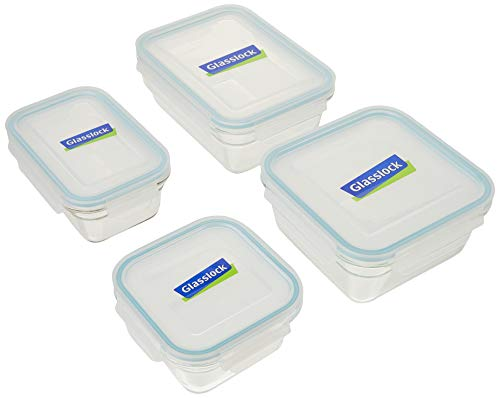 Glasslock 2 Rectangle and 2 Square Assorted Oven Safe Container Set, 4-Piece