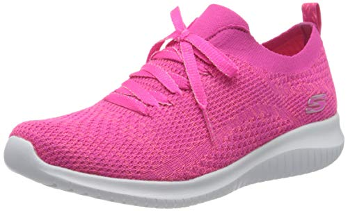 Skechers Damen Ultra Flex Sneaker, Pink Hot Pink Strick Mesh Trim Hpk, 38 EU