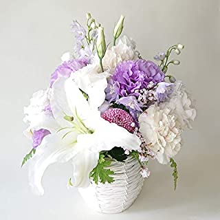 〔MaisonFleurie二子玉川本店〕御供 フラワーアレンジメント 白紫 Sサイズ 枕花 仏花 法要 四十九日 周忌 回忌 命日 お供え