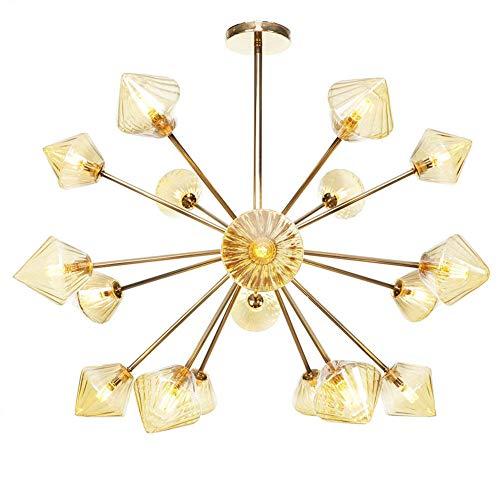 GJBHD Moderna De Lujo 18 Luces Lámpara De Techo, Interiores G4 Enchufe Lámparas De Araña Vaso Metal El Norte De Europa Lámpara Colgante De Araña Dormitorio Salón Pasillo-Ámbar 18 Luces