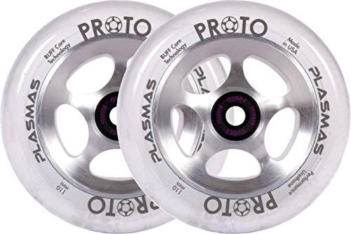 Proto Plasma Stunt - Ruedas para patinete, color plateado y transparente
