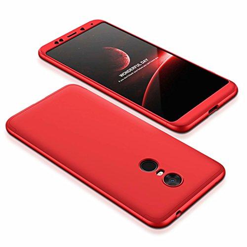 DESCHE compatibles con funda Xiaomi Redmi 5 Plus Rojo, PC duro Cubierta protectora Ultrafino Anti-rasguños Parachoque Mate Phone Case - Rojo