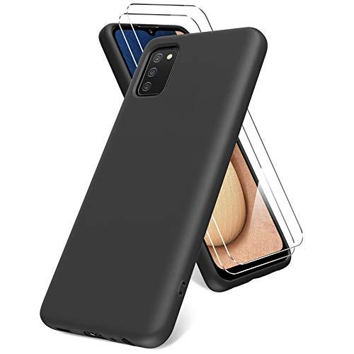 Vansdon Cover per Samsung Galaxy A02s, 2 Pellicola Protettiva in Vetro Temperato, Gomma Gel di Silicone Liquida Antiurto Custodia - Nero