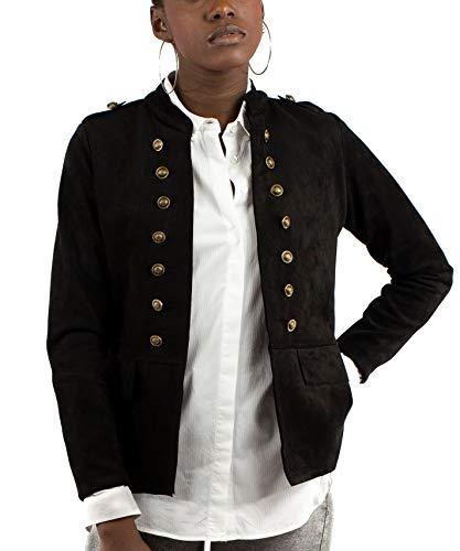Mer's Style - Chaqueta Cazadora Militar de Ante para Mujer, Negro