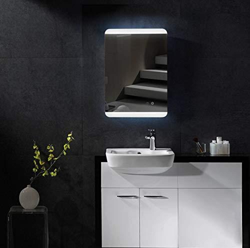 SGSpiegel Badspiegel mit Antibeschlag Heizung und LED Beleuchtung oben und unten, Badezimmerspiegel mit LED 50x70cm, Lichtfarbe Weiß, Energieklasse A+