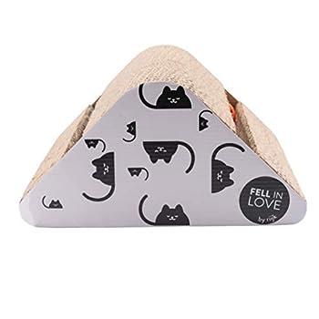 riijk Griffoir pour Chats en Carton avec Herbe-aux-Chats - Antidérapant - Jouet Chat avec Balle QuiSonne Triangle
