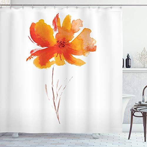 ABAKUHAUS Flor de la Acuarela Cortina de Baño, romántica de la Amapola, Material Resistente al Agua Durable Estampa Digital, 175 x 200 cm, Blanco Naranja
