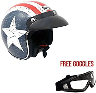 MMG 207 Motorcycle Cruiser 3/4 Shell Open Face Helmet Snap-On Visor, Stars and Stripes American Patriot Medium, Includes Goggles