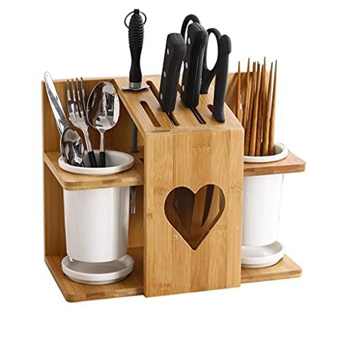 TNSYGSB Bloque de Cuchillas de Palillos de cerámica, Soporte de Cuchillo de Cocina de bambú y Madera, Bastidor de Cuchillos para Ahorro de Espacio Accesorios Cocina (Color : Type a)