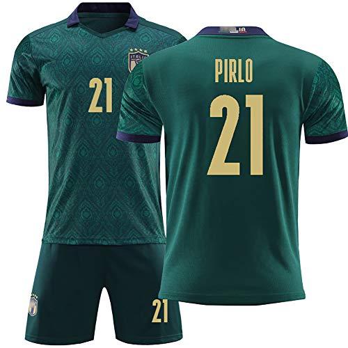 FUNBN Für Bonucci 19 Rossi 16 Pirlo 21, Europapokal 2020 Italien Zwei Auswärtsfußball-Sportbekleidung, Herren- und Kinderfußballuniformen-21#-24(130~140cm)