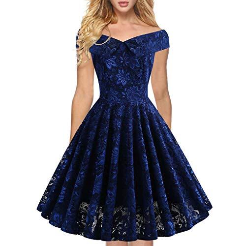 ZZBO Abendkleider Damen Festliches Kleid Cocktailkleid Rockabilly Kleid Brautjungfernkleid Abschlussballkleid Schulterfrei Ballkleid Tanzkleid Faltenrock Partykleid S-XXL(Wein Rot,Schwarz,Blau)