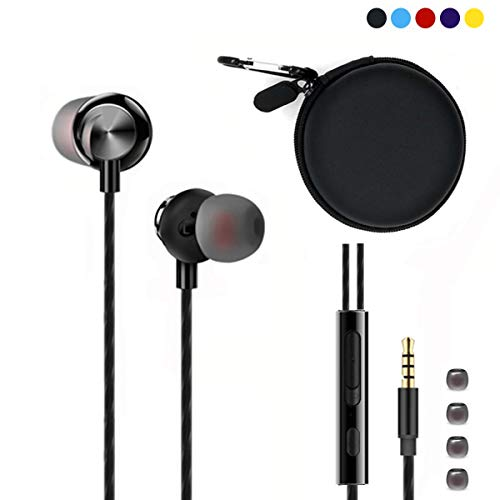 Earbuds Zipper Pocket-Sized Bag Case with Carabiner + Crystal Clear Sound Magnetic Metal in-Ear Earbuds with Mic and Volume Control and 4 Pieces Soft Silicone Tips (Black Case and Earbuds Included)