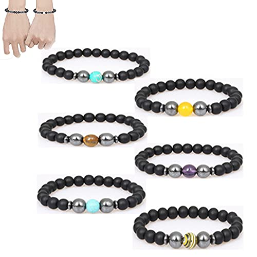 6Pcs Lymphatic Drainage Black Obsidian Bracelet Frosted Stone Beads Anti-Swelling Black Obsidian Anklet, Magnetic Therapy Ankle Bracelet for Man and Woman (6 PCS)