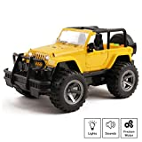 Vokodo Off-Road Truck With Lights And Sounds Friction Powered Jeep SUV 1:16 Scale Doors Open Kids Push And Go Action Toy Vehicle Imagination Pretend Play Car Great Gift For Children Boys Girls Toddler