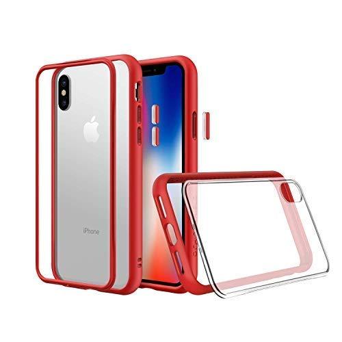 RhinoShield Funda Modular Compatible con [iPhone XS MAX]   Mod NX - Funda Protectora Resistente a Impactos - Compatible con Cargador inalámbrico - Bumper Rojo con Placa Trasera Transparente