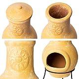 Nexos Terrassenofen Gartenkamin Terracotta 70 cm Gartenofen Yaqui Stahlgestell Feueröffnung 17x13 cm Schlot 22x15 cm robust 16 kg - 4