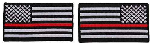 Thin Red Line American Flag Left and Right Patch for Fire Fighters - Iron on Patch - 3.5 inches -  Ivamis Trading, PG1016