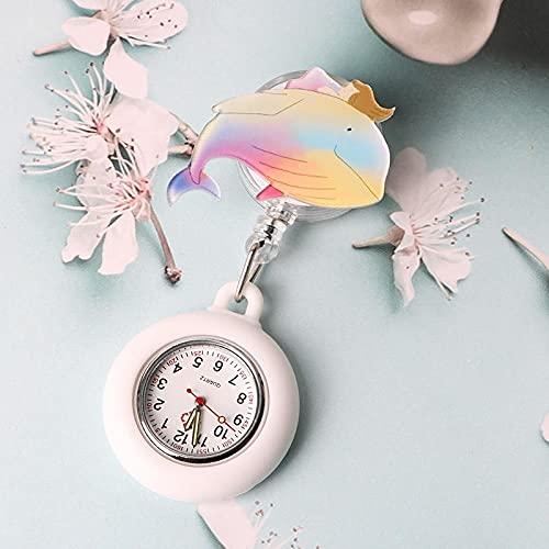 YYMY Regalos para Enfermeras Reloj Bolsillo,Reloj de Bolsillo escalable de Silicona para Enfermera, Hangar médico Luminoso Estilo Clip Impermeable-Blanco 4