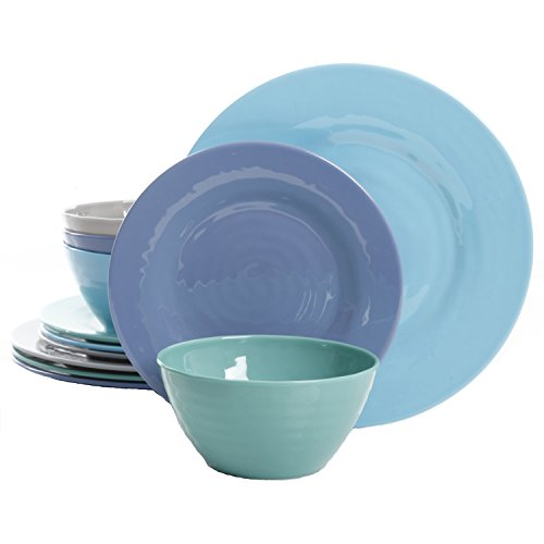 Gibson Overseas, Inc. Brist 12-Piece Dinnerware Set Break & Chip-Resistant Melamine Plates & Bowls Indoor/Outdoor Blue