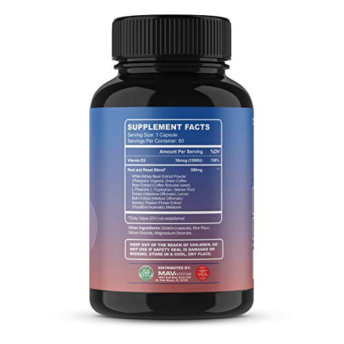 MAV Nutrition Weight Loss Pills Fat Burner for Night Time as Appetite Suppressant and Metabolism Boost, 60 Count 3