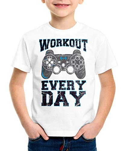 style3 Gamer Workout Kinder T-Shirt Play Sport Station Controller ps Game, Farbe:Weiß, Größe:140