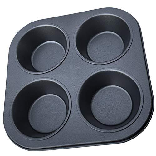 Hemoton Muffinvorm 4 Kop Cupcake Pan Non-Stick Bakvormpjes Koolstofstaal Oven Bakplaat Voor Thuis Bakkerij Broodwinkel Cafe (Zwart)