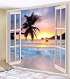 UHUSE Tapestry Wall Hanging, Beach Surf Palm Trees Sunset View Balcony White Wooden Windows Summer Tropical, Living Room Bedroom Dorm Decor Tapestries
